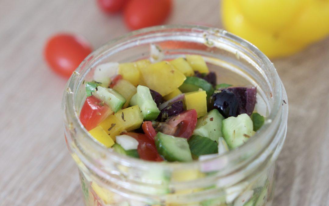 Mini Mason Jar Greek Salad