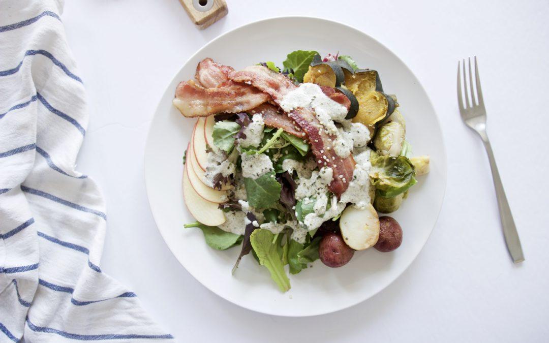 Harvest Salad with Roasted Veggies & Bacon