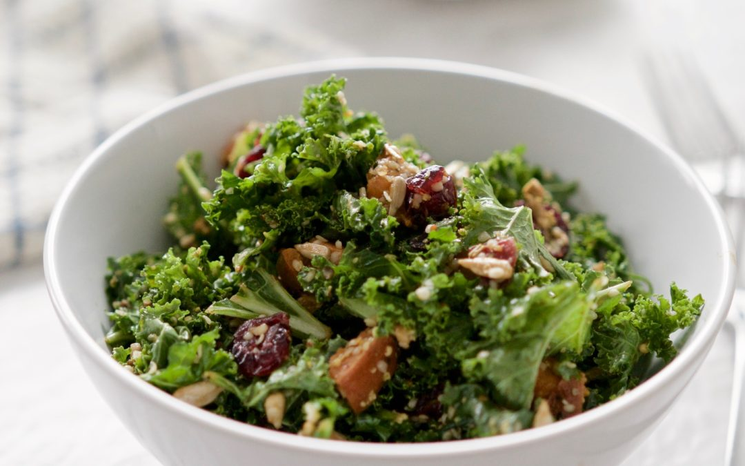 Sweet Potato & Cranberry Kale Salad