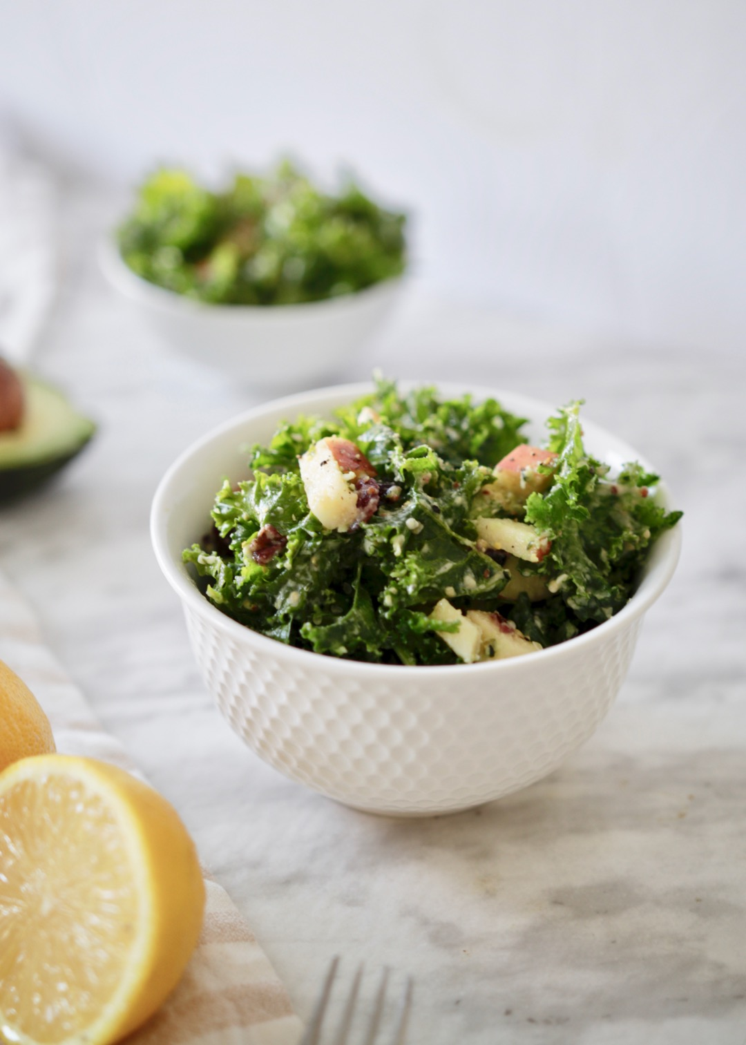 kale salad with apple and cranberry
